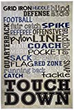 Stupell Home Décor Brown and Navy Football Typog Wall Plaque Art, 10 x 0.5 x 15, Proudly Made in USA