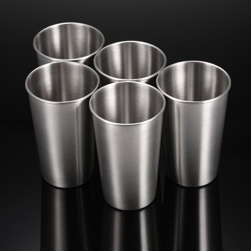Anself 5PCS Tasses Gobelet Bi/ère En Acier Inoxydable Pinte Refroidisseur Tasses Partie Camping Pique-Nique Jus Tasse R/ésistance /à la Chute
