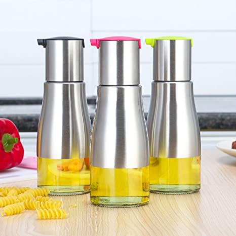 3pcs Leakproof Cooking Olive Oil Dispenser Soy Sauce Dispenser Toughened  Glass Vinegar Cruet Bottles