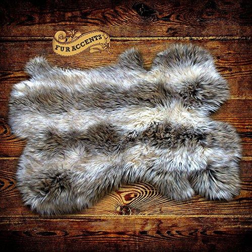 Gray Stripe Wolf / Shaggy Raccoon Fur Rug Shag Pelt Rug Faux Flokati Pelt Suede Lined (5'x6') Pottery Barn Classic Stripe