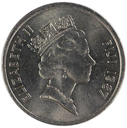 1987 FJ Fiji Elizabeth II 3nd Portrait 20 Cent Brilliant Uncirculated