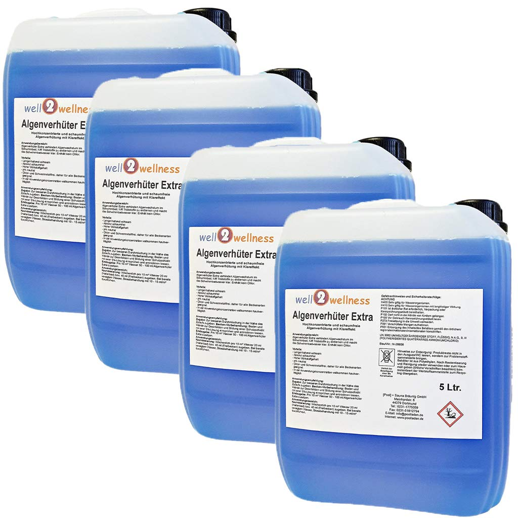 Pool Algae Killer - Inhibitor / Extra 'BLUE' / 4 x 5 Litres / Highly Concentrated / Non-Foaming [Pool] + Sauna BRÄUNIG GmbH