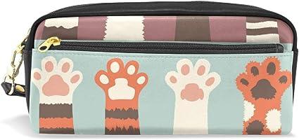 Estuche escolar con diseño de gatos, garras, perros, huellas de animales, para la escuela, para niños, de gran capacidad, para maquillaje, cosméticos o para oficina, bolsa de viaje: Amazon.es: Oficina y papelería