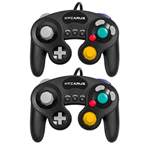 Gamecube Controller, HYCARUS 2 Packs Black Game Cube Controller with Turbo and Slow Buttons, Gamecube Controller Switch Edition for Nintendo Gamecube Controller Games (Gamecube Adapter Required)