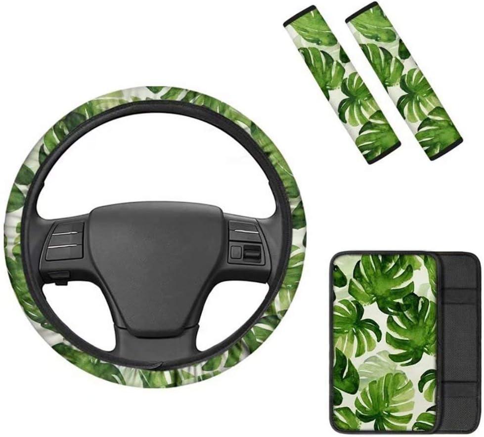 LedBack Boho Elephant Design Car Interior Accessorry Cover 1pc Steering Wheel Cover,1pc Armrest Center Console Cover Girl Comfortable Soft 2pcs Car Seat Belt Covers Shoulder Strap Pads
