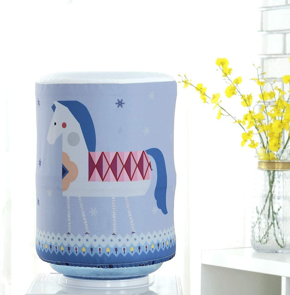 MiDube Water Dispenser Barrel Covers, Durable Fabric Bucket Decor, Reusable Furniture Standard Cover Protector for Home, Office and 5 Gallon Water Bottle (Horse)