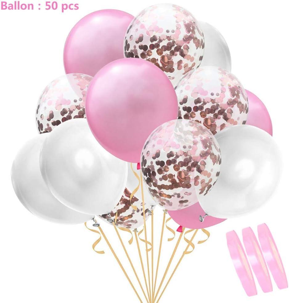50 piezas de globos de confeti conjunto blanco rosa, 12
