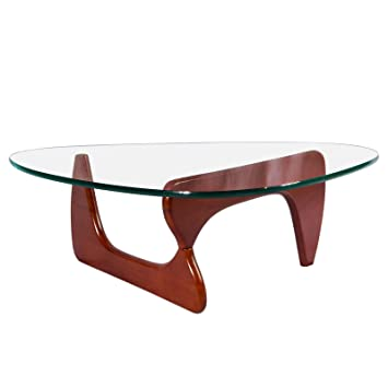 eChamp Coffee Table, Triangle Coffee Table 20mm Thick Transparent Glass End Table for Living Room, Lounge, Patio, Balcony, Study (Walnut)