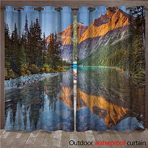 Patio Mountain Furniture Rocky - WilliamsDecor National Parks Outdoor Curtains for Patio Sheer Canadian Rocky Mountain Range on Edith Cavell Lake Pastoral Image Print W96 x L96(245cm x 245cm)