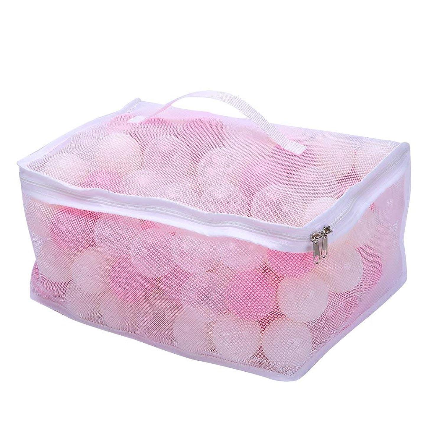 観点スリラーリマカラーボール おもちゃボール 150個 直径5.5cm やわらかポリエチレン製 収納ネットセット(プール/ボールハウス用) (ピンク白透明)