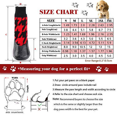 RilexAwhile Dog Shoes Boots Dog Socks Shoes for Dogs Cat Socks Waterproof Socks Non-Slip Soles Adjustable Dog Cat Paw Socks for Puppy Medium Large Dogs Cats Indoor Outdoor (M, Black and Red)