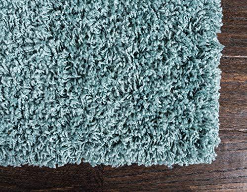 Unique Loom Solo Solid Shag Collection Modern Plush Light Slate Blue Area Rug (2' 2 x 3' 0)