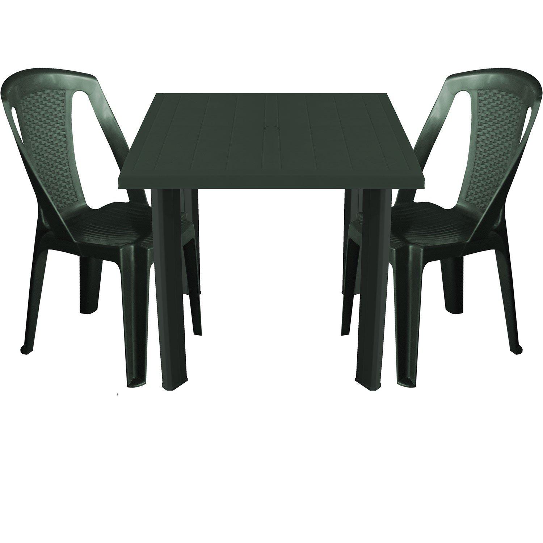 3tlg Balkonmöbel Kunststoff Gartentisch 80x75cm 2x Stapelbare