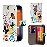 32nd® Design book wallet PU leather case cover for Motorola Moto G 2 (2nd Gen / 2014 edition) + screen protector and cleaning cloth - Colour Butterfly