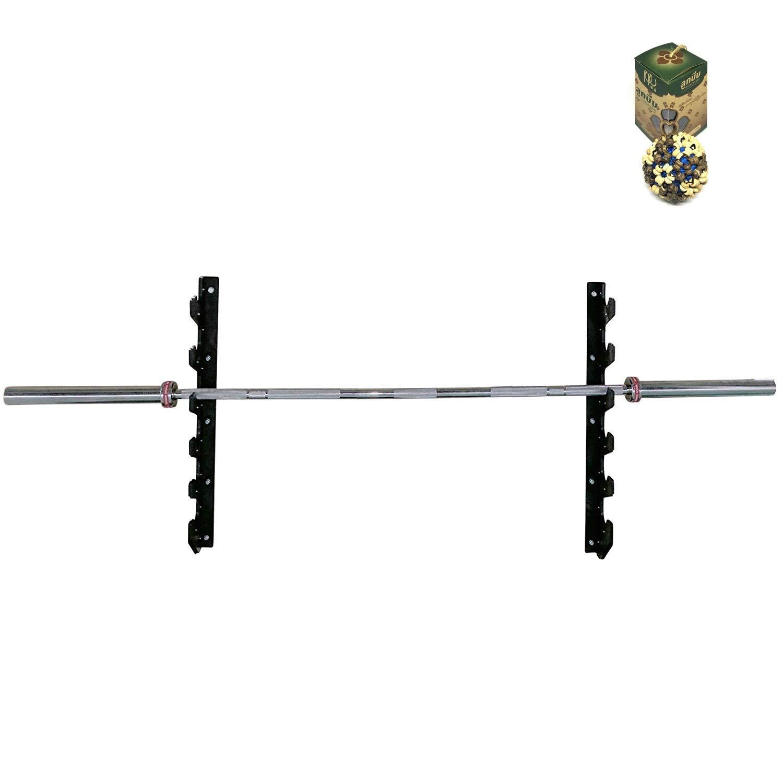 SpiritOne Horizontal Wall Mounted 6 Olympic Barbell Rack Bar Storage Gift Coconut Shell Massage Ball by SpiritOne