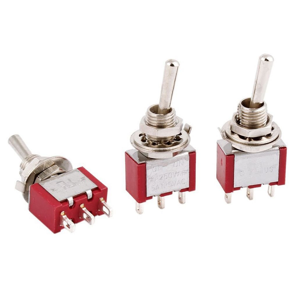 sourcingmap/® 10 piezas de bot/ón rojo redondo enclavamiento pulsador interruptor unipolar de CA 250V 3A