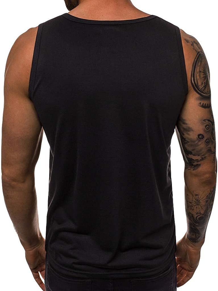 Black,US Size 2XL = Tag 3XL Forthery Men Muscle Workout Tank Top Bodybuilding Gym Letter Print Shirts Tee Vest