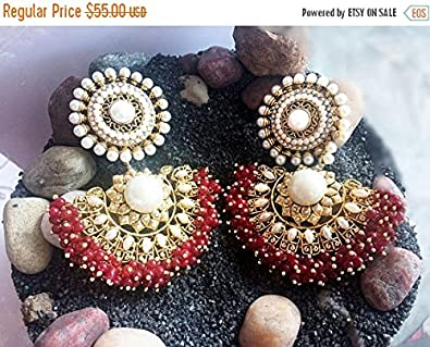 Amazon ruby pearl chandelier earrings ruby gold earrings 18k ruby pearl chandelier earringsruby gold earrings18k gold plated jewelrymughal royal aloadofball Image collections