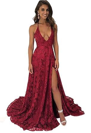 Dressylady Sexy A Line Halter Deep V Neck Backless Long Lace Prom Dress with Slit Burgundy