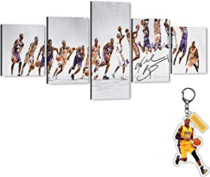 "Kobe Bryant Dunk Silhouette - 5 Piece Large Canvas Wall Art Los Angeles Lakers Forever Legend 24th Super Star Picture Artwork for Home Decor, Kobe Canvas Print for Boys Room Decor (50""Wx24""H)"