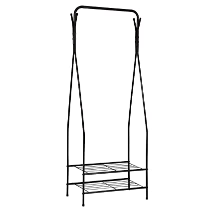 WOLT Clothes Rail Coat Rack 2 Tier Shelves Hallway Entrance Free stand Organizer Metal Storage Shoe Bench Stand with Top Rod 2 Hooks for Home Office Bedroom Black