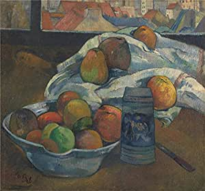 high quality polyster Canvas ,the Cheap but High quality Art Decorative Art Decorative Canvas Prints of oil painting 'Paul Gauguin Bowl of Fruit and Tankard before a Window ', 20 x 21 inch / 51 x 55 cm is best for Laundry Room decor and Home decoration and Gifts