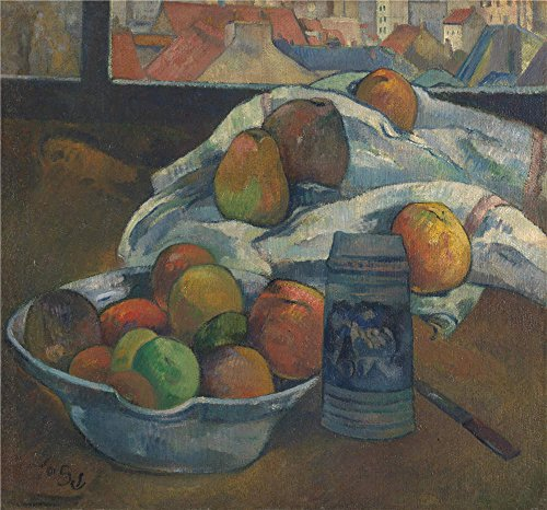 Floral Frog Candlesticks (Oil Painting 'Paul Gauguin Bowl Of Fruit And Tankard Before A Window', 30 x 32 inch / 76 x 82 cm , on High Definition HD canvas prints is for Gifts And Bed Room, Hallway And Kitchen Decoration, home)