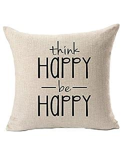 QINU KEONU Think Happy Be Happy Cotton Linen Throw Pillow Case Cushion Cover Home Sofa Decorative 18 X 18 Inch