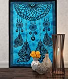 Tapestry Single Turquoise Dream Catcher hippie mandal Wall Hanging Art Decor Mandala Tapestries Hippie Dorm 84X55 inches AAKRITI GALLERY (Turquoise)