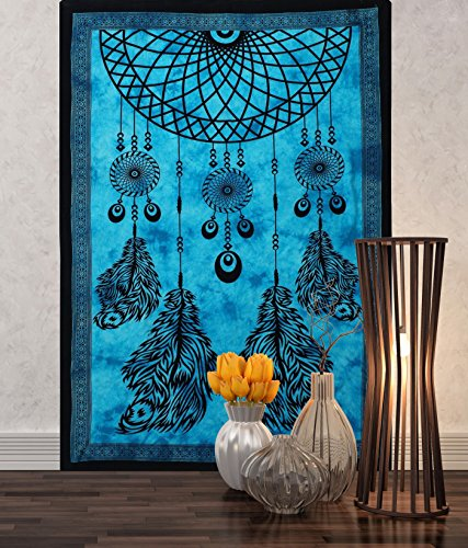 Aakriti Gallery Tapestry Single Turquoise Dream Catcher Hippie Mandal Wall Hanging Art Decor Mandala Tapestries Hippie Dorm 84X55 inches (Turquoise)