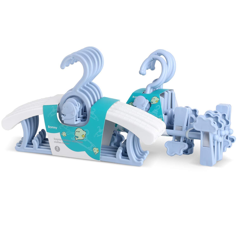 Bamny 10 Set mitwachsende Kinderkleiderb/ügel und hosenhalter platzsparend mit stapelbaren Delphin-Haken rutschfeste Kleiderb/ügel+hosenhalter f/ür Babys und Kleinkinder Blau