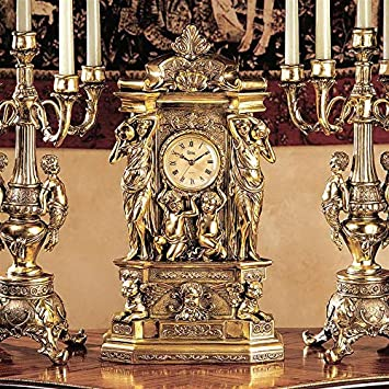 Design Toscano Chateau Chambord Mantel Clock, 20 Inch, Polyresin, Gold