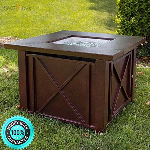 SKEMiDEX--- LPG Fire Pit Table Outdoor gas Fireplace Propane Heater Patio Backyard Deck New his fire pit is made of steel with a durable powder-coated bronze finish.Its criss cross design adds classi. Square Lp Gas Fireplace
