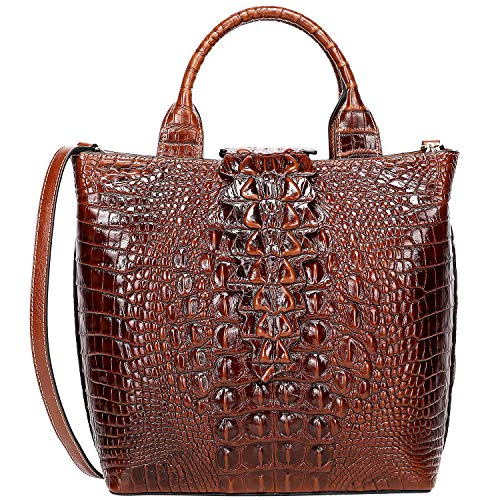Crocodile Handbag Tote Pattern (PIJUSHI Top Handle Satchel Handbags Crocodile Bag Designer Purse Leather Tote Bags (6061 Brown))