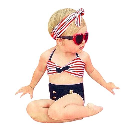 3f9ef3bafd59 Amazon.com: 3 Pcs Set Kids Toddler Baby Girls Striped Swimsuits Halter  Bikini Tops + Swim Bottoms + Headband Swimwear Outfits: Clothing