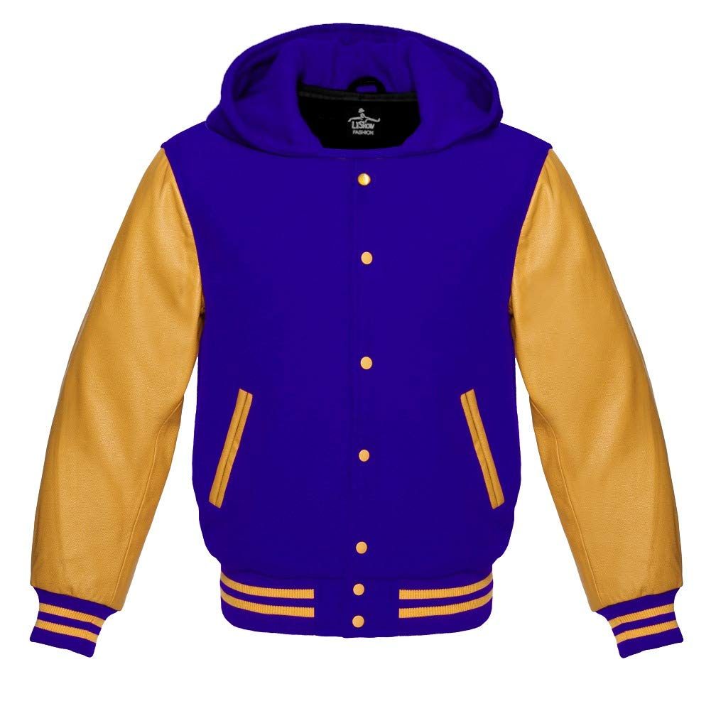 Varsity Hoodie Jacket for Baseball Letterman of Attractive Royal Blue Wool and Beautiful Genuine Golden Leather Sleeves (M, Royal Blue/Golden) by Lishow Fashion
