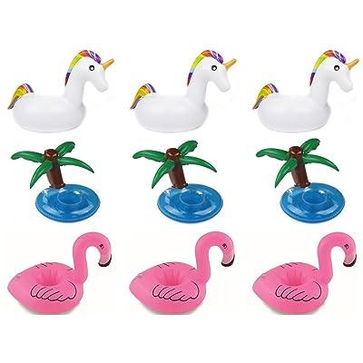 Gonflable support à boisson, Lot de 9 dessous-de-verre Flamingo Licorne Palmiers Tasse support à boisson flotteur piscine Porte-boissons pour piscine gonflable Beach Party enfants jouet de bain