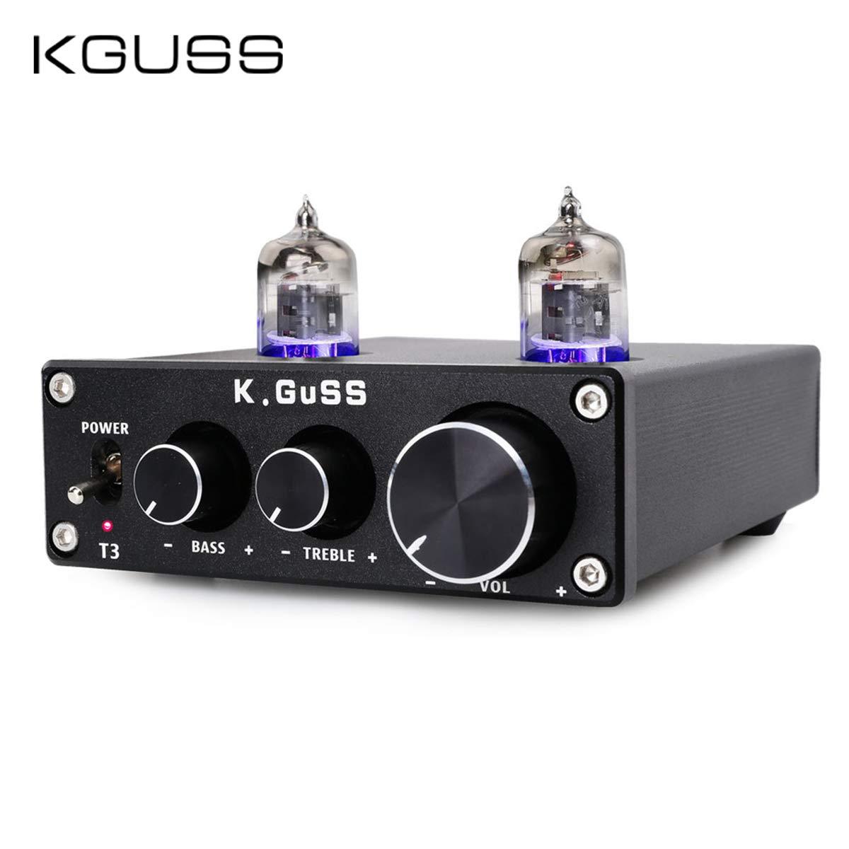 KGUSS T3 Vacuum Tube Mini Bile 6J1 Preamp Tube Amplifier Buffer Tube Amp HiFi Audio Preamplifier Treble & Bass Adjustment Pre-amps DC12V(Black)