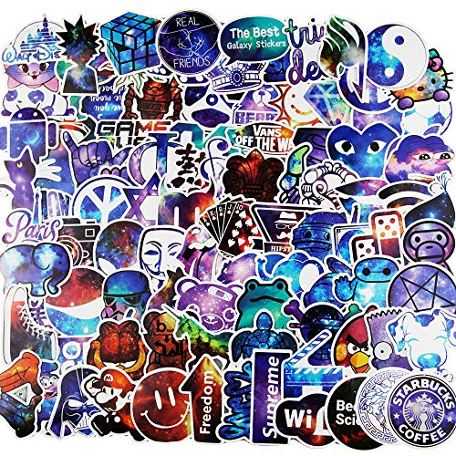 Vinyl Stickers [100 pcs],Galaxy Stickers for Kids Car Bicycle Luggage Decal Graffiti Patches Skateboard Stickers for Water Bottle - No-Duplicate Sticker Pack