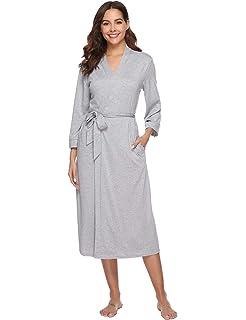 Abollria Bata para Mujer Algodón con Escote en V Albornoz de Kimono de Mujer Ropa de Dormir…