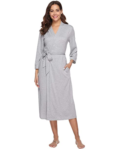 Abollria Bata para Mujer Algodón con Escote en V Albornoz de Kimono de Mujer Ropa de Dormir con Cinturón: Amazon.es: Ropa y accesorios
