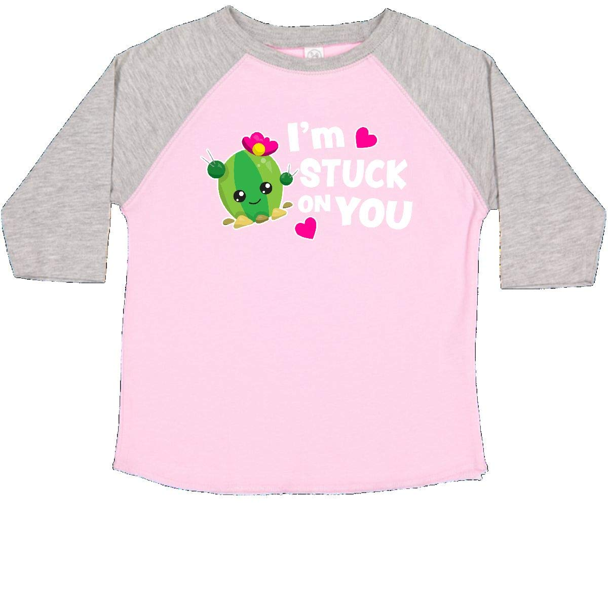 inktastic Im Stuck on You with Cactus and Hearts Valentine Toddler T-Shirt