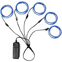 Luz azul neón brillante El Wire 51 m impermeable LED Ourbest, Azul, 7 x 5 x 2 inches
