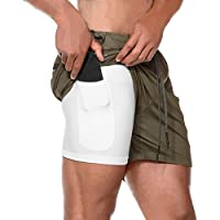 Musgneer Men's 2 in 1 Gym Workout Shorts Quick Dry Training Running Short Pants with Pocket