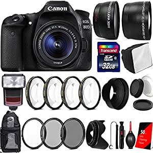 Canon EOS 80D 24.2MP Digtal SLR Camera with 18-55mm IS STM Lens , TTL Speedlite Flash and Accessory Kit