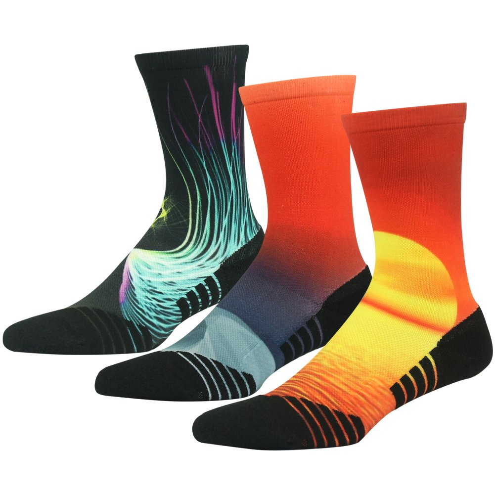Wild Socks for Men HUSO Stylish Luxurious Comfort and Premium Performance Athletic Hiking Basketball Crew Socks Gift for Grandma 3 Pairs (Multicolor, L/XL)