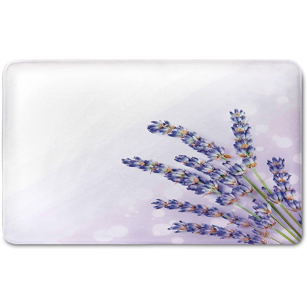 Memory Foam Bath Mat,Lavender,Little Posy of Medicinal Herb Fresh Plant of Purple Flower Spa Aromatheraphy OrganicPlush Wanderlust Bathroom Decor Mat Rug Carpet with Anti-Slip Backing,Lavander