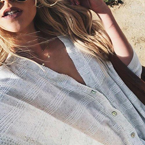 Col MVPKK Chemise Chemise Femme Longues Blouse Pull Femme Automne Chemise lgant T Tricot Femme Femme Tops Manches Boutons Shirts V Beige Chemise Chemise Lache Hiver Femme Chic wffrtvq