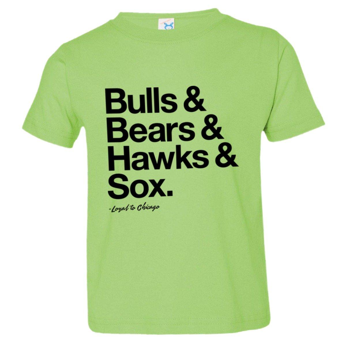 Toddler Loyal Bulls Bears Blackhawks White Sox Ball Soft HQ Tee