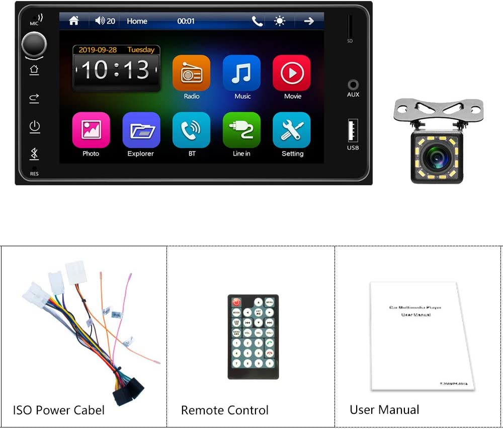 FM Radio,AUX//TF//USB Android//iOS Mirrorlink Steering Wheel Controls with Rearview Camera Podofo Double Din Car Radio Stereo for Toyota Corolla 7 TFT HD Touch Screen MP5 Player Support Bluetooth